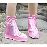 Coromose Universal Waterproof Shoes Cover Reusable Rain Snow Boots Wear-Resistant Slip-Resistant Overshoes Covers for Men & Women Rose red