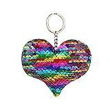 Lonshell Pailletten Herz Schlüsselanhänger Frauen Handtasche Mode Reflektierend Schlüsselbund Geldbörse Anhängeranhänger Schlüsselringhalter Anhänger (Mehrfarbig)