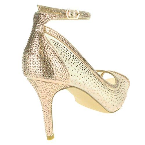 Frau Damen Mesh Diamante Peeptoe Abend Braut Hochzeit Party Prom Hoch Absatz Sandalen Schuhe Größe Champagne