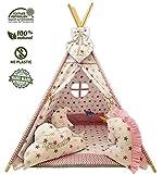 Kinder Spielzelt Teepee Tipi Set für Kinder drinnen draußen Spielzeug Zelt Indianer Indianertipi mit Fenster usw. Tipi mit Zubehör - Einhorn Traum