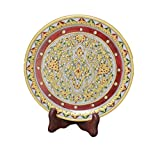 Marble Plate 9 inch With Wooden Stand Handmade Handicraft For Home Decor Gift Item