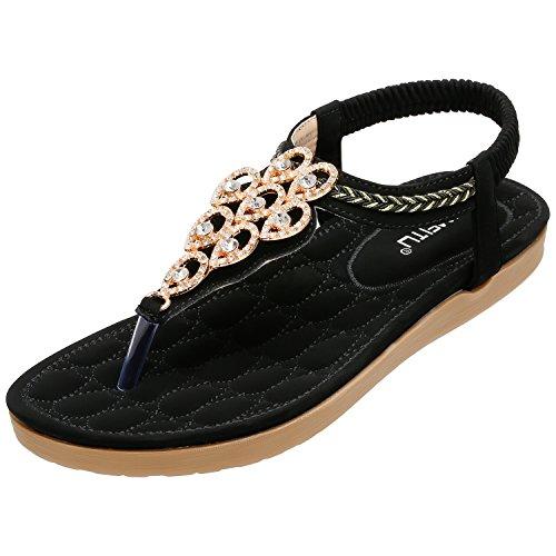 SANMIO Damen Sandalen, Frauen Flach Zehentrenner Bohemian Strass Sandaletten Sommer PU Leder Sandals- Gr. 39 EU (Etikettgröße: 40), Schwarz-a - Aus Verzierungen