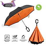 BravRain - Ampio ombrello anti-vento da viaggio con apertura invertita; unisex, con doppio strato reversibile; adatto anche come ombrello da golf e parasole, Tangerine