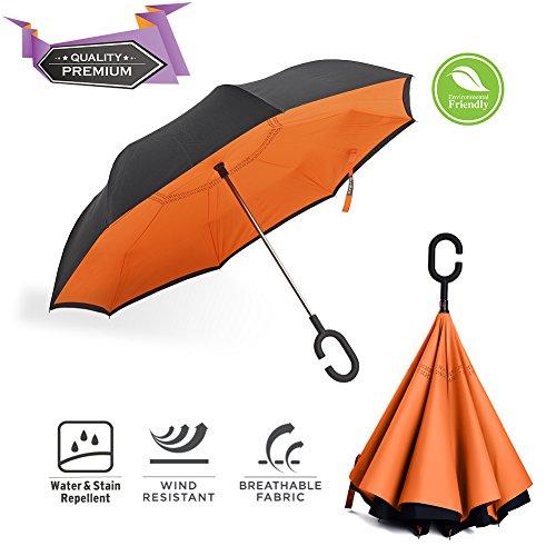 Bravrain inversé Parapluie coupe-vent Envers Parapluie de voyage pliable pour femme double couche Inside Out réversible Grande Voiture Parapluie pour homme–L'Envers pliable UV Sun pluie Parapluie de golf, mandarine