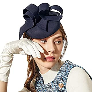 Deevoov Sinamay Flower Alice Headband Fascinator Wedding Headwear Ladies Pillbox Cocktail Party Derby Race Royal Ascot Hat with Detachable Head Band Blue