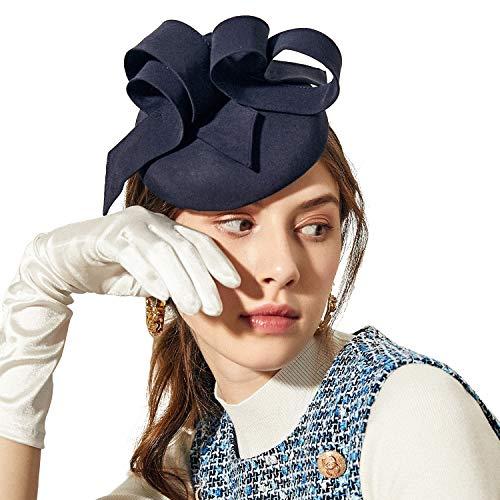 Deevoov Sinamay Hochzeit Blau Fascinator für Frauen Mädchen Mode Schleifen Abnehmbar Stirnband Rennen königlich Ascot Bunker Cocktail Party Derby ()