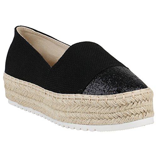 Damen Schuhe Espadrilles Metallic Slipper Bast Profilsohle Flats 156181 Schwarz Bast Glitzer 40 Flandell