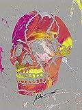 Artland Qualitätsbilder I Glasbilder Deko Glas Bilder 60 x 80 cm Menschen Anatomie Körperteil Spachteltechnik Orange D0IC Totenkopf 2