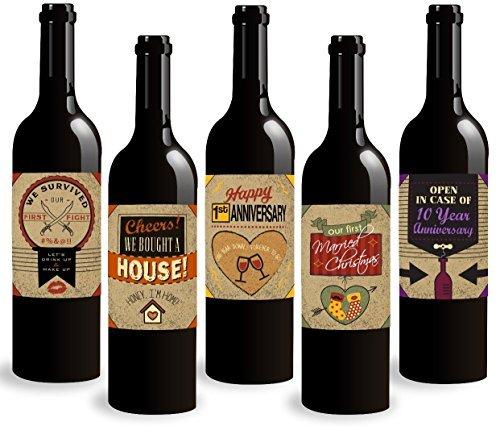 ten Ehe Meilensteine Wein Flasche Etiketten, ersten Jahr der Ehe 5Stück. Perfekt für Hochzeiten, Verlobung Party oder Bridal Dusche. ()