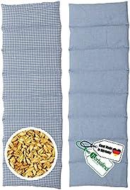 HERBALIND 8-Kammer Wärmekissen Körnerkissen Schulter Nacken 60x20 cm in Karo/blau - 100% Baumwolle - Getreidek