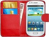 G-Shield Hülle für Samsung Galaxy S3 Mini Klapphülle mit Kartenfach (I8190) - Rot