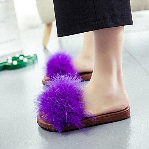 Sandalen für Damen flacher beiläufigen Sandalen Wort drag Ms. wilden Strand geöffnet zeheschuhe Purple