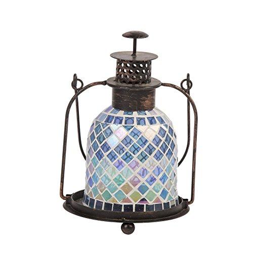 Ardoise mosaïque Bleu et Rose Lanterne en verre Hauteur : environ 23 cm
