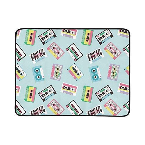 EIJODNL Audio Tapes Retro 80 S Portable and Foldable Blanket Mat 60x78 Inch Handy Mat for Camping Picnic Beach Indoor Outdoor Travel 80 S Pastel