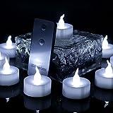 Advocator 12 Stücke Fern Kerzen, Batterie Led Flammenlose Tee Kerzen mit Fernbedienung, Cool White Flackernde Fern Teelichter für Hochzeit Weihnachten Home Decor