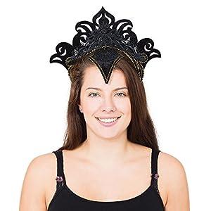 Bristol Novelty BA2123 - Diadema de carnaval, color negro con borde dorado, talla única para mujer