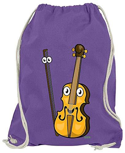 HARIZ Turnbeutel Geige Lachend Instrument Kind Witizg Plus Geschenkkarten Lila One Size