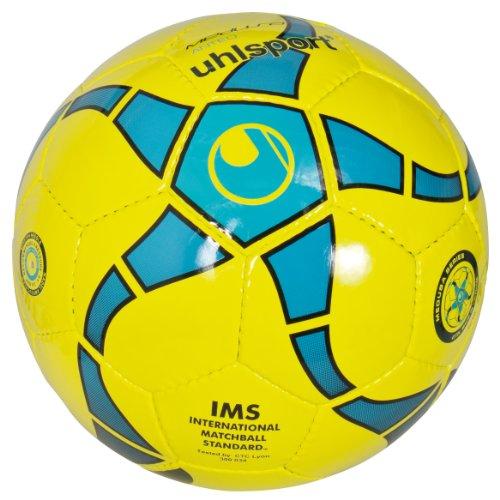 uhlsport - Pallone da calcio Medusa Anteno, verde lime fosforescente/ciano/blu mare/nero, Giallo (fluo gelb/cyan/marine/schwarz), 4