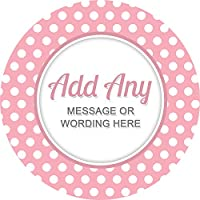 Polka Dots Light Pink Sticker Labels (24 Stickers, 4.5cm Each) Personalised Custom Seals Ideal for Party Bags Sweet Cones Favours Jars Presentations Gift Boxes Bottles Crafts