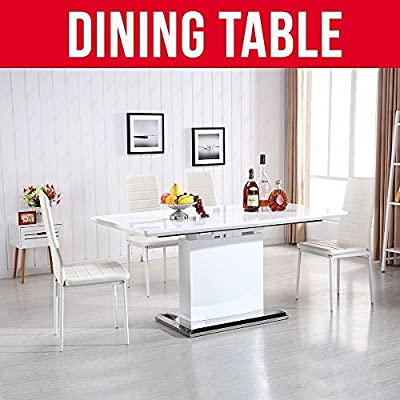 UEnjoy White Extendable Table High Gloss Modern Dining Table Stylish - inexpensive UK light shop.