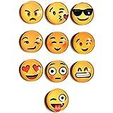 Juego de 10 imanes para el frigorífico en forma de divertidos emoticonos | Emoticonos con diferentes expresiones | Pizarra magnética y tablón de anuncios | Decoración con fotos y organización para la oficina