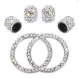 SAVITA 4 Stück Kristall Diamant Strasssteine Universal ventilkappen Staubkappen Autozubehör mit 2 Diamant Auto Zündknopf Ring Push Start Aufkleber Ringe
