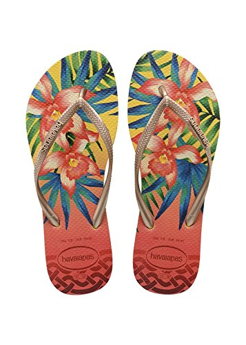 Havaianas-Slim-Tropical-Chanclas-para-Mujer-Multicolor-Light-Yellow-0013-3536-EU