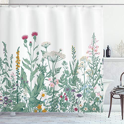 ABAKUHAUS Floral Rideau de Douche, Cerfeuil Mauve musquée, Tissu Ensemble de Décor de Salle de Bain avec Crochets, 175 cm x 240 cm, Multicolore