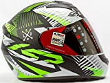 LS2 Full Face Designer Helmet FF-352 Rookie New Black Green Mat , Mirror Visor, XL - 59 Cms