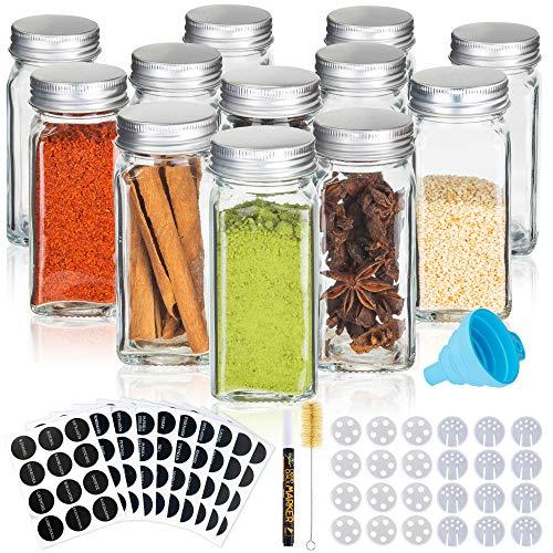 Deco haus Gewürzgläser mit Schraubkappe - 12er Set - Verschiedene Streuer-Aufsätze, Trichter, Bürste, Etiketten & Kreidestift - Perfekt für unsere 4 Gewürzregale - 120 ml, 10,5 x 4,3 cm