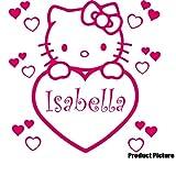 Hello Kitty Herz mit Ihrem Wunsch-Namen, 60 cm x 60 cm, Blush, Farbe personalisierbar, name, Kinderzimmer, Kinder, Kinderzimmer, Wandtattoo, Vinyl, Fenster und Auto-Wand Windows-Art Aufkleber ThatVinylPlace Wandtattoo,