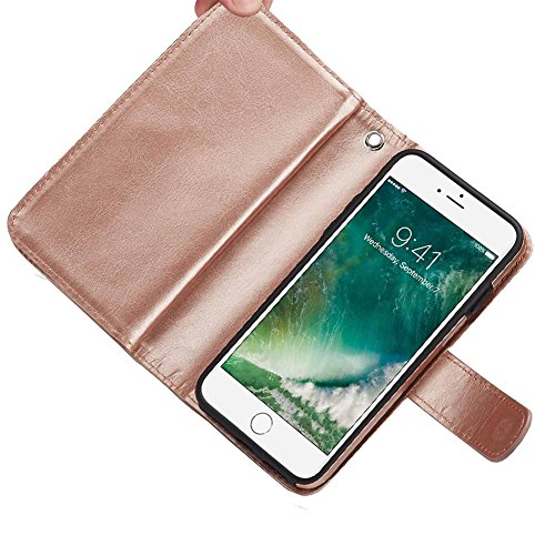 iPhone 8 Plus Wallet Case, SOUNDMAE Magnetic Detachable Premium PU Leather Wallet Case 2in1 Removable Protective Flip Cover With Card Slot Cash Pocket Hand Strap for iPhone 8 Plus [Black] Z-White Gold