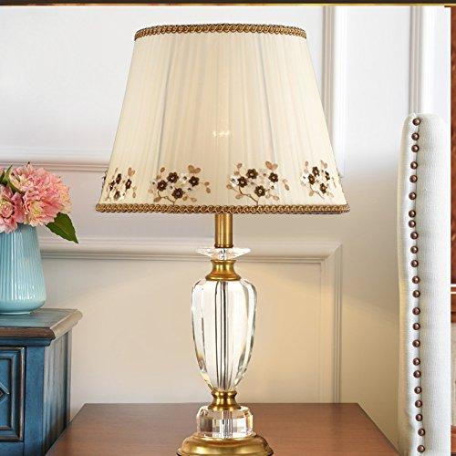 Européenne pastorale pur cuivre cristal mariage table de chevet salle de mariage chaude créative romantique protection des yeux lampe de table de ménage