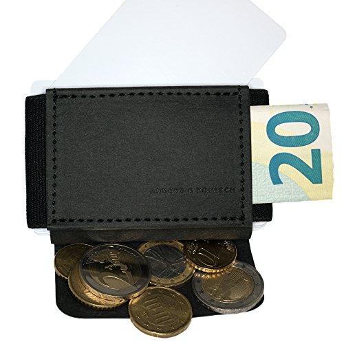 ANDERS & KOMISCH – unisex Mini-Geldbeutel mit Münzfach aus Papierleder (vegan) – schwarz - 2