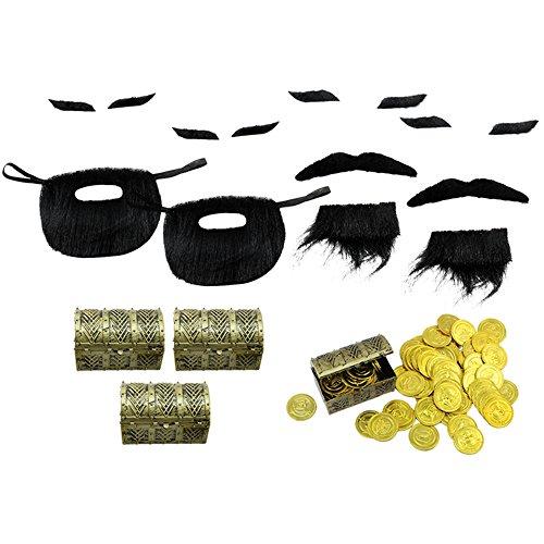 com-four® 48-teiliges Piraten-Schatzsucher-Set mit Goldmünzen, Schatztruhen und künstlichen Bärten