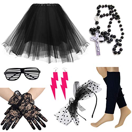 80S Madonna Damen Kurzer Petticoat mit Spitzenhandschuhen Kreuzkette (Black)