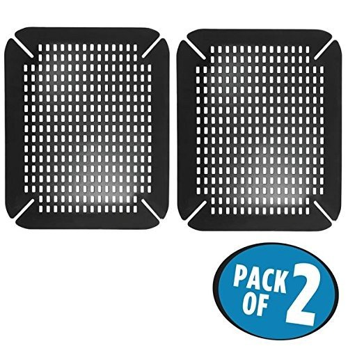 mDesign 2er-Set Spülbeckeneinlage – praktisch einstellbare Waschbeckenmatte aus Silikon – gepolsterte Spülbeckenmatte für das Spülbecken und als Geschirrablage – schwarz
