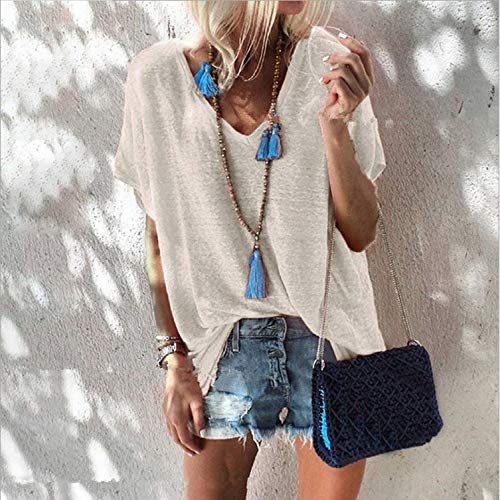 ljradj banxiu Sommer Candy Farbe Größe Lose V-Ausschnitt Kurzarm T-Shirt Frauen Weiß M (Stricken Ballett-ausschnitt)