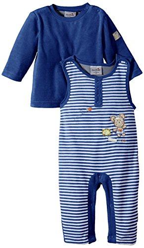 """Julius Hüpeden Baby - Jungen Latzhose """"Ticket to Rio"""" aus Velours im Set mit Oberteil, Gr. 62, Blau (nautical blue 194050)"""