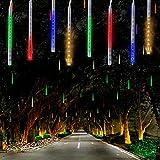LED Meteor Dusche Solar Lichter Garten,KINGCOO Wasserdicht Mehrfarbig 360LEDs Falling Regentropfen Cascading Dekorative Lichterketten mit 30cm 10 Tubes für Urlaub Party Hochzeit Weihnachtsbaum (Bunt)