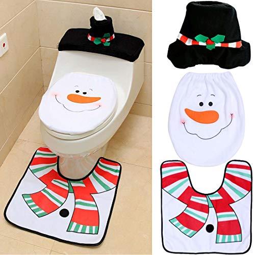 Suertree Weihnachtsdekoration 3pcs Schneemann Toilette Set WC-Sitzbezüge Badezimmer Dekoration Teppich Tissue Box Cover Set