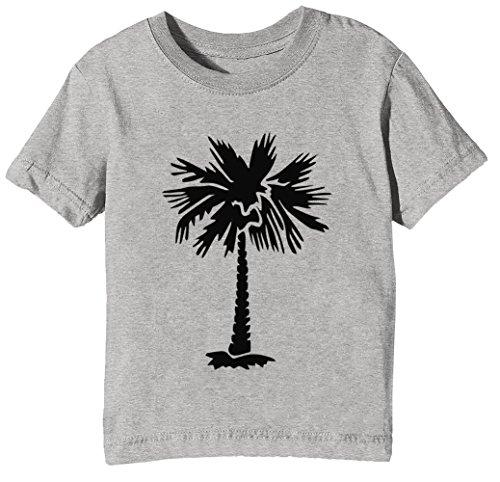 Palme Baum Kinder Unisex Jungen Mädchen T-Shirt Rundhals Grau Kurzarm Größe XL Kids Boys Girls Grey X-Large Size XL