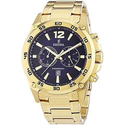 Festina F16806/2 - Reloj de cuarzo para hombre, correa de diversos materiales color dorado