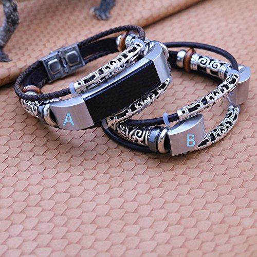 Altsommer für Fitbit Alta/Fitbit Alta HR Ledr Armband, Weben Vintag Leder Uhrenarmbänder mit Klassische Schnalle aus Edelstahl Replacement Schnellverschluss für Herren Damen (A) - Fitbit-armband Faltschließe