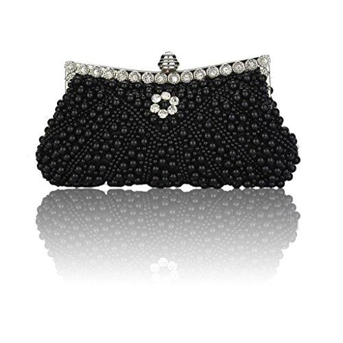 Heyjewels Elegant Handgemacht Zweiseitig Perlen Beaded Clutch Brauttasche Unterarmtasche Party Abendtasche Serie 2:Schwarz