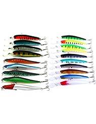 Hengjia 3modelos 19pcs Mixed Minnow señuelos de pesca Set Kit plástico artificiales cebos Swimbait Bass Pike señuelos para perca larga labio pesca señuelos de pesca en mar