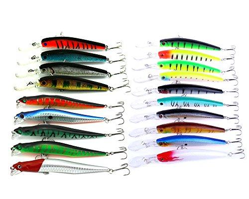 hengjia 3modèles 19pcs Assortiment Minnow leurres de pêche en plastique Kit appât artificiel Swimbait Basse Pike leurres pour perche longue à lèvres pêche Leurre pour pêche en mer