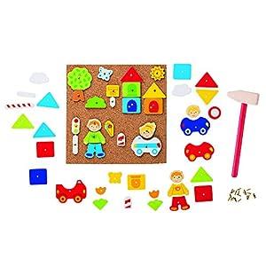 Goki- Puzzles De Madera Martillo Y Set De Clavos, Ciudad, (Gollnest & Kiesel 58556.0)