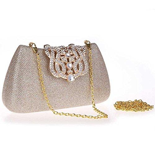 KAXIDY Donna Pochette Borsa Sacchetto Borsetta Da Sera Borsa Diamante Portafoglio Frizioni Champagne