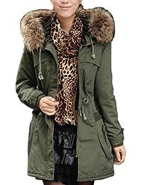 8f59a5955a395 New Women Thicken Fleece Warm Faux Fur Collar Long Winter Coat Zip Hood Parka  Overcoat Jacket